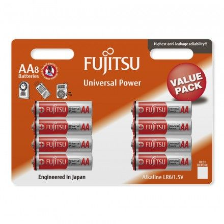 Pilhas Fujitsu AA 8 Pack Universal Power LR6 Value Pack
