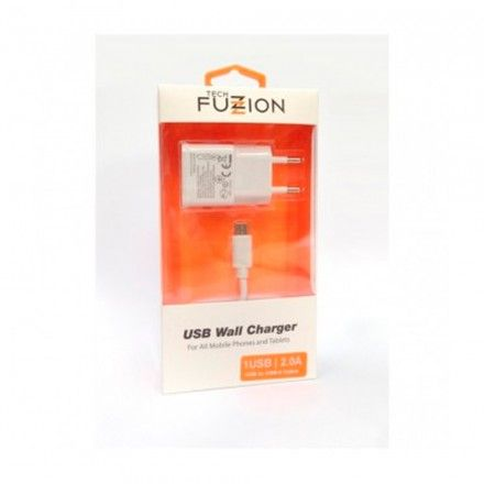 Carregador USB Tech Fuzzion 2A Micro USB White