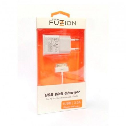 CARREGADOR TECH FUZZION 1USB 2A + CABO IPHONE 4/4S