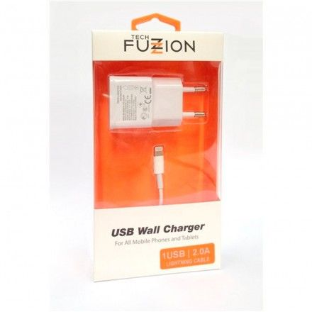 Carregador Tech Fuzzion 1USB 2A + CABO LIGHTNING