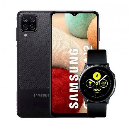Conj. Smartphone Samsung Galaxy A12 + Samsung Galaxy Watch Active Black - SM-R500NZKATPH